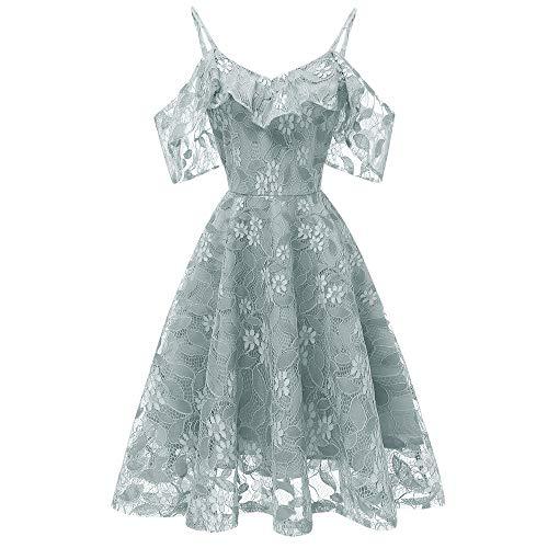 (DEATU Princess Lace Dress Women Vintage Floral Cute Lace Cocktail Neckline Ladies Party Aline Swing Sleeveless Dress(Green,XXL))