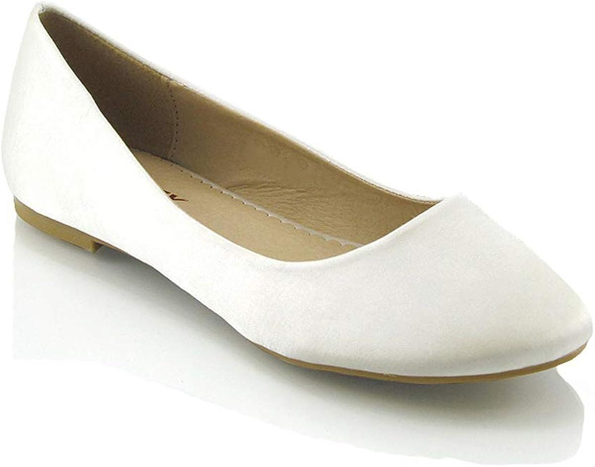 LADIES SMART FLAT PUMPS WOMENS GLITTER BALLET BALLERINA DOLLY BRIDAL SHOES SIZE