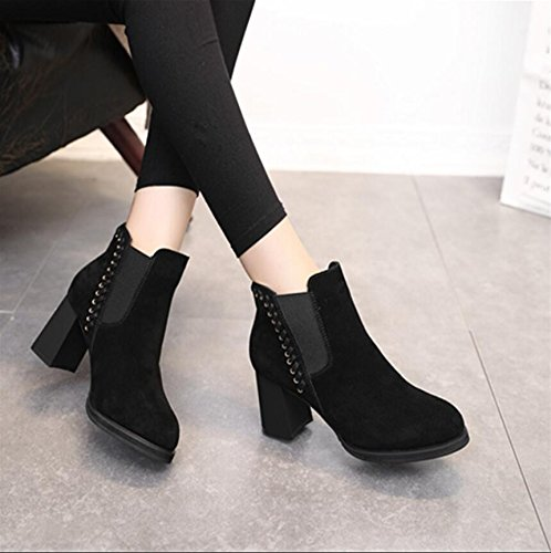 KHSKX-Black Matte Leather Elastic Set Of Boots Chelsea Boots Winter New Round Head Braided Thick With High-Heeled Ladies Boot 7Cm 34 HUNXh6v