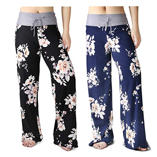 HIGHDAYS Pajama Pants for Women Floral Print Palazzo Pants Comfy Casual Lounge Pants with Wide Leg & Drawstring (L, Group C 2 Packs)