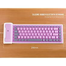 LinDon-Tech Pretty Portable Flexible Wireless Waterproof Washable Silicone Roll-up Bluetooth Keyboard for Tablet, Smartphone, Laptop, Built-in Rechargeable Lithium Battery (pink)