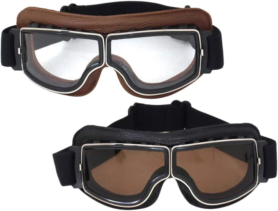 Lente con Rivestimento antiappannamento per Qualsiasi Condizione atmosferica Cinturino Regolabile LIOOBO Occhiali da Moto Vintage