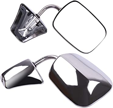 SCITOO Side Mirrors Fit for Chevy for GMC Truck Towing Mirror Replacement Stainless Steel Manual Folding Door Mirror for 1973-1991 for Chevy Blazer Suburban 1973-1987 for GMC Jimmy 1978-1991 Van