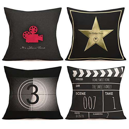 Asamour Movie Theater Cinema Personalized Throw Pillow Covers Cotton Linen Vintage Black Film-making Style Movie Projector Clapper Board Printed Home Decor Cushion Cover Pillow Case Set of 4,18
