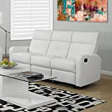 Monarch Specialties I 85WH-3 Reclining Sofa in White Bonded Leather