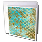 "3dRose Greeting Card Sparkling Teal Luxury Elegant Mermaid Scales Glitter Effect Art Print, 6 x 6"" (gc_266934_5)"