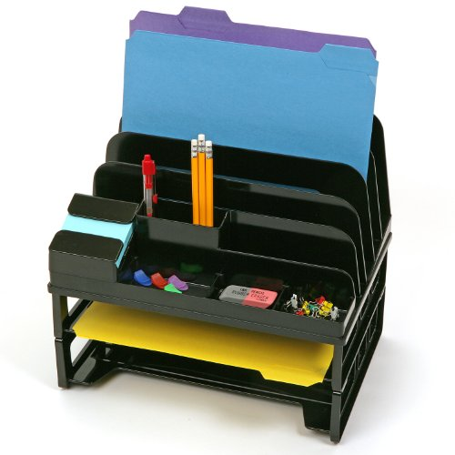 Officemate Side Load Sorter and Organizers with Two Letter Trays, Black (22155)