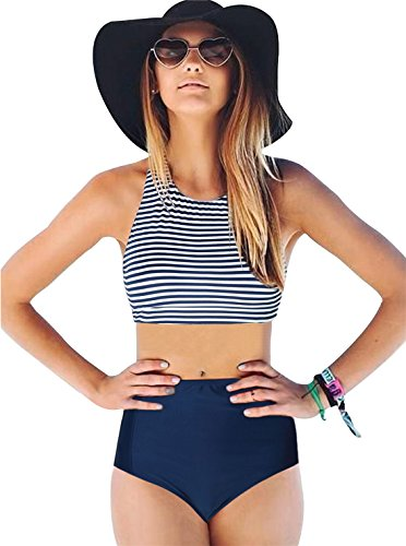 Women's Sexy High Waisted Swimsuit Tankini High Neck Bikini Navy Blue Striped Racerback Top Solid Color (Colour Goes Navy Blue)