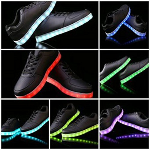 (Present:small towel)JUNGLEST® 7 Color Changing LED Flashing Sport Shoes USB Charging luminous Sneakers Unisex fo Black CfsPQf7