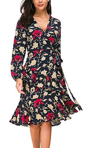 Wrap Chiffon Floral (Kormei Womens Floral Chiffon Wrap V Neck Split Cocktail Party Midi Dress with Belt M Blue)