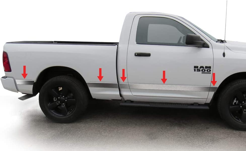 Compatible with 2009-2018 Dodge Ram 1500; 2010-2018 2500//3500; 2019-2020 Classic Reg Cab 6.5 Bed Without Fender Flare Upper Rocker Panel Trim Side Moulding 3.25 Wide 10PC Tyger Auto Made in USA