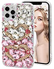 Rhinestone Case for Samsung Galaxy S20 Plus/Galaxy S20+,MOIKY Cute 3D Love Heart Design Luxury Sparkle Bling Full Crystal Diamond Cover Protector Transparent Hard PC Soft TPU Bumper Case - White Pink