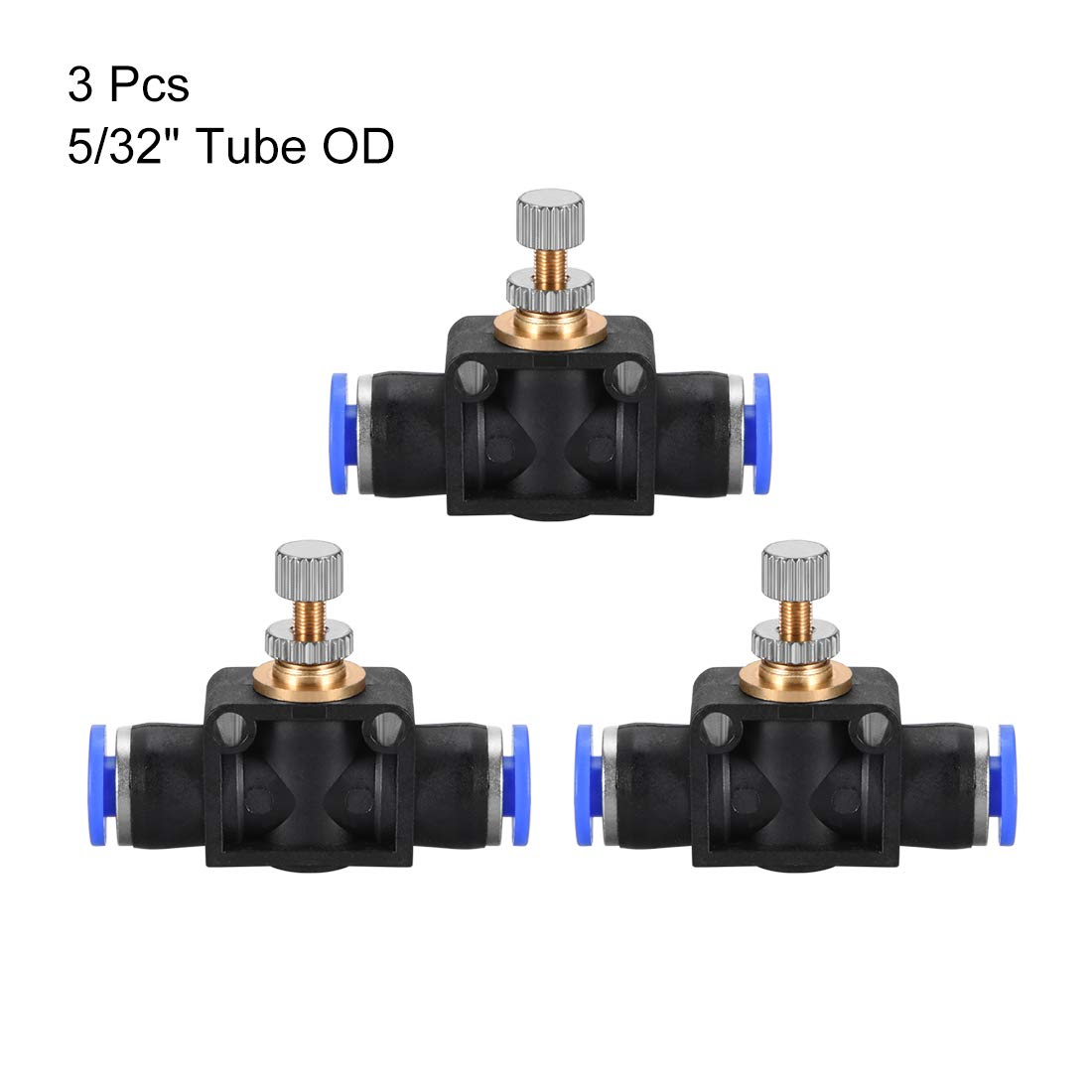 uxcell 8mm OD Pneumatic Air Flow Control Valve with Push-to-Connect Fitting,Straight Air Pneumatic Flow in-Line Speed Controller Valve