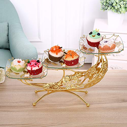 T-JMGP Multi-layer fruit dish Fruit fight European fruit plate creative glass fruit plate luxury double layer three-layer coffee table four layers, gold ()