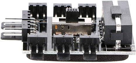 zhiounny PC IDE Molex 1 to 8 Way Splitter Cooling Fan Hub 3-Pin 12V Power Socket PCB Adapter