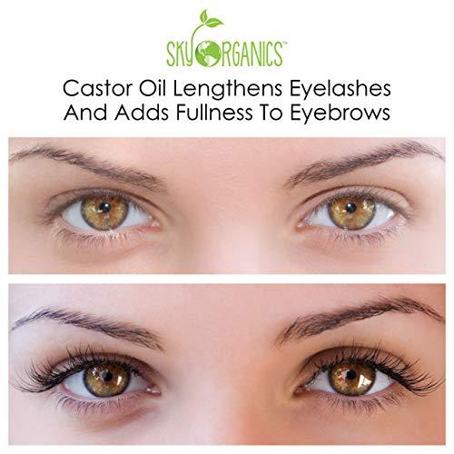 Castor Oil (16oz) USDA Organic Cold-Pressed 100% Pure, Hexane-Free Castor Oil - Moisturizing & Healing, For Dry Skin, Hair Growth - For Skin, Hair Care, Eyelashes - Caster Oil By Sky Organics