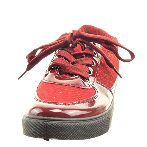 Glitzer Schuhe Patent Mode Sopily Damen Glänzende Blau Sneaker wEBqnIxF