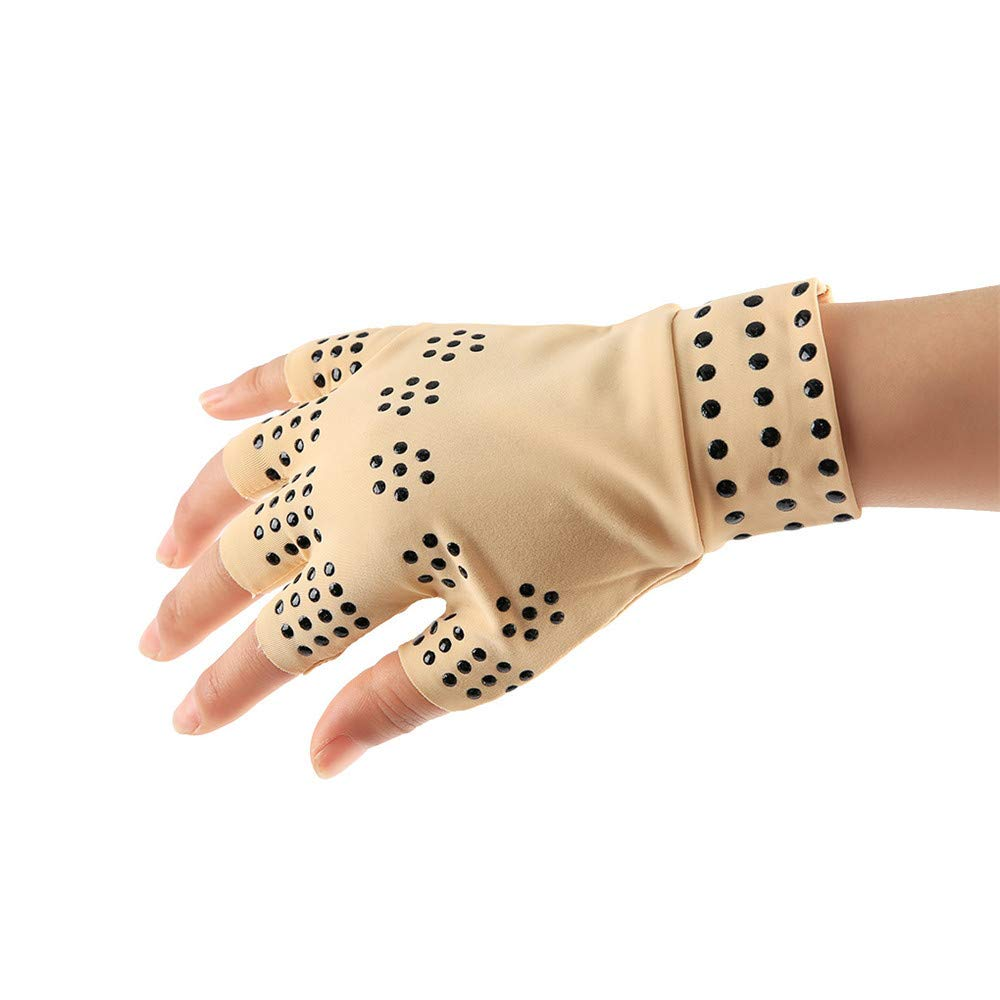 Loneflash Arthritis Pain Relief Heal Joints Braces Supports Health Care Tool Gloves (Khaki)