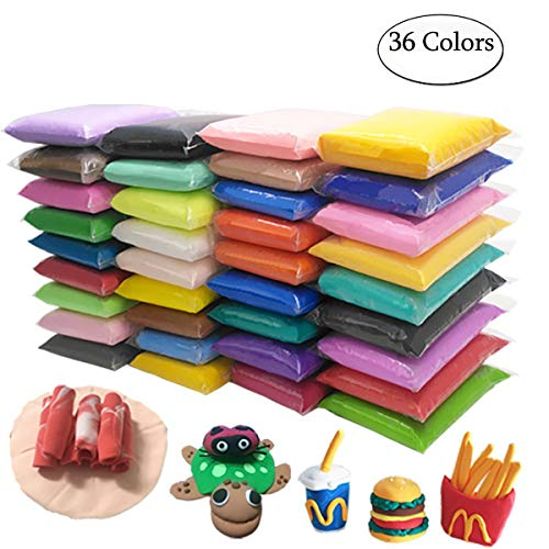 - 36 Colors DIY Modeling Clay Kit, Ultra Light Polymer Clay Air Dry Clay Creativity DIY Crafts No-Toxic Clay with Tools, Tutorials for Kids