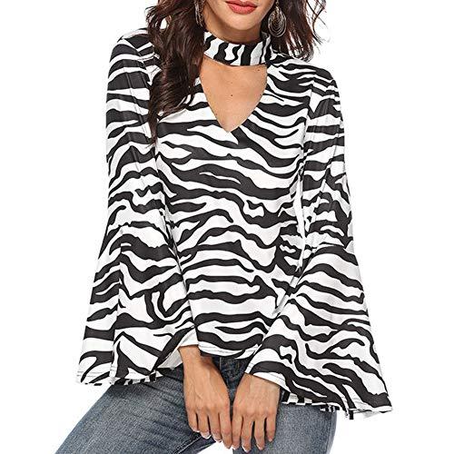(Sweaters for Women-Elegant Women Zebra Stripe Print V Neck Long Flare Sleeve Loose Blouse Top)