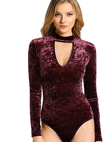MakeMeChic Women's Choker V Neck Long Sleeve Velvet Leotard Bodysuit Jumpsuit Burgundy S