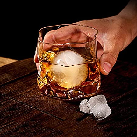 Glasseam Juego De Vasos De Whisky Irregulares De 4 Pliegues Inclinados, Vaso Escocés De 250 Ml, Vaso De Whisky a La Moda para Papá, Esposo, Amigos, Cristalería para Vaso De Bourbon/Ron/Bar