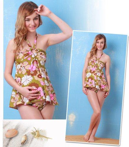 SP2170 Tankini Maillot de bain femme enceinte et allaitement GreenxPink