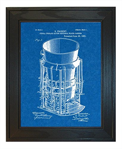 Pine Cupola (Cupola Furnace Having Sectional Water Jackets Patent Art Blueprint Print in a Solid Pine Wood Frame (18