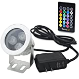 Yangcsl 10W IP68 Waterproof Outdoor RGB Landscape Light LED Flood Light with Remote Control - 2 Meters Cable and Power Supply Adapter for Garden - Lawn - Pool - Aquarium - Fountain