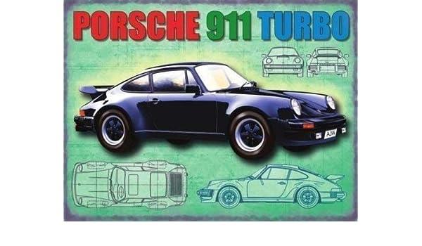 Porsche 911 Turbo en negro Motor trasero Alemana clásico de los 60 a regalo Años 80 versión con el proyecto dibujos. VAG Grupo Para gasolina Cabeza, garaje, ...