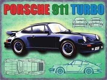 Porsche 911 Turbo en negro Motor trasero Alemana clásico de los 60 a regalo Años 80