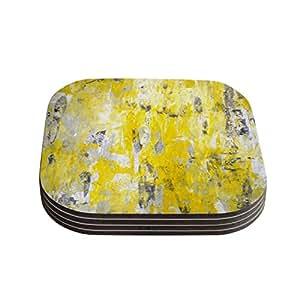 "Kess InHouse CarolLynn Tice ""Picking Around"" Yellow Coasters, 4 by 4-Inch, Yellow/Gray, Set of 4"