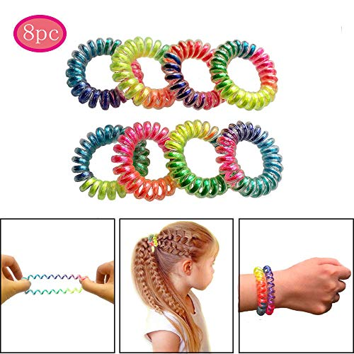 RevoRosy Spiral Hair Ties with No Crease| Coil Hair Elastics for Girls Age 6+ | Colorful Hair Rubber Bands| Ouchless Hair Rings | Premium Set of 8 'Rainbow' collection