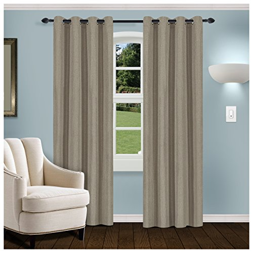 """Superior Linen Textured Blackout Curtain Set of 2, Thermal Insulated Panel Pair with Grommet Top Header, Classic Natural Look Room Darkening Drapes, Available in 4 Lengths - Grey, 52""""x84"""" each"""
