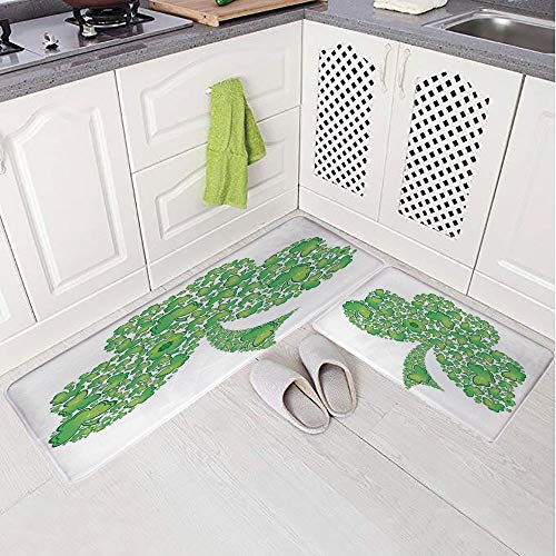 2 Piece Non-Slip Kitchen Mat Rug Set Doormat 3D Print,Made with Small Clover Patterns Holy Trinity Symbol,Bedroom Living Room Coffee Table Household Skin Care Carpet Window Mat,