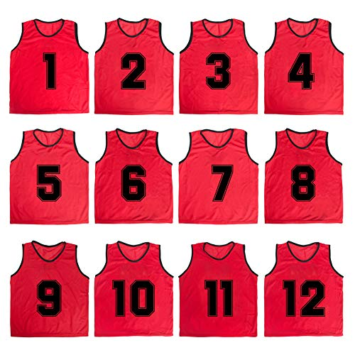 TOPTIE Numbered/Blank Scrimmage Team Practice Mesh Jerseys Vests Pinnies (12-Pack)-Red (#1 to 12)-Adult