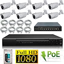 USG 1080P 8 Channel IP PoE CCTV Kit: 8x 1080P IP PoE 2.8-12mm Bullet Cameras + 1x 8 Channel 1080P NVR + 1x 9 Port PoE Switch + 8x Ethernet Cables + 1x 2TB HDD High Definition Video Surveillance For Your Home or Business