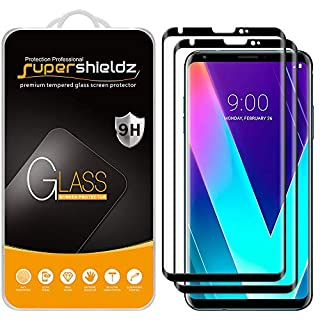 (2 Pack) Supershieldz for LG V30 Tempered Glass Screen Protector, (Full Screen Coverage) (3D Curved Glass) Anti Scratch, Bubble Free (Black)