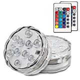 Hitopin Submersible LED Lights Remote Controlled Battery Operated Wireless Multicolor Waterproof Underwater Submersible Led Lights for Pond, Party,Wedding, Vase Base, Christmas Home Lighting,Set of 2