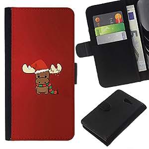 Supergiant (Reindeer Christmas Winter Red Cute) Dibujo PU billetera de cuero Funda Case Caso de la piel de la bolsa protectora Para Sony Xperia M2 / M2 dual