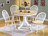 5pc White Natural Wood Round Dining Table +4 Windsor Chairs Set