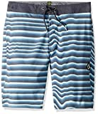 "Volcom Boys' Big Aura Stripe 17"" Stretchy Boardshort, Vintage Blue, 25"