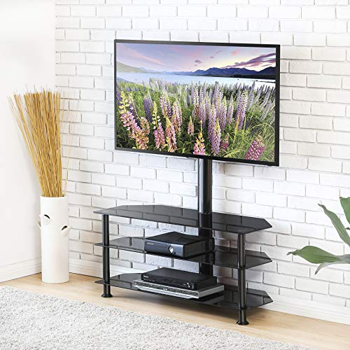 FITUEYES Swivel Floor TV Stand with Mount, Height Adjustable 3-in-1 Flat Panel Entertainment Stand for 32 to 65 inch Plasma LCD LED Flat or Curved Screen TVs TW307501MB