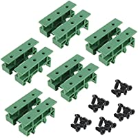 Sysly 5 Sets PCB DIN Rail Mounting Adapter Circuit Board Mounting Bracket Holder Carrier Clips, for 35mm, 15mm DIN rail (Green)