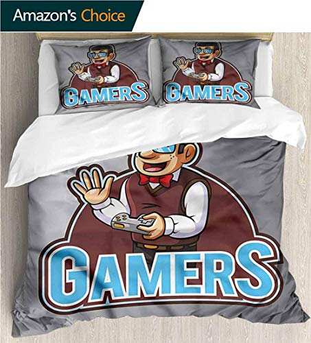 VROSELV-HOME European Style Print Bed Set,Box Stitched,Soft,Breathable,Hypoallergenic,Fade Resistant 100% Cotton Bedspread/Quilt Set,3 Pieces-Gamer Nerd Guy with Bowtie Glasses (68