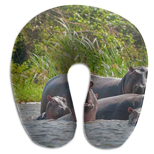 FULIHUA A Hippopotamus Family U-Shaped Neck Pillow for Flight, Train, Car, Office Naps and People with Cervical Problems (Sofa Hippopotamus)