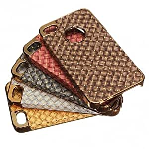 Chrome Metal Hard Back Case Cover PU Leather For iPhone 4 4S --- Color:Golden