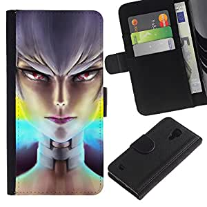 """A-type (Niña mala"""") Colorida Impresión Funda Cuero Monedero Caja Bolsa Cubierta Caja Piel Card Slots Para Samsung Galaxy S4 IV I9500"""