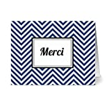 Modern Chevron 'Mercí' Navy - 24 Cards - Blank Cards w/ Grey Envelopes Included