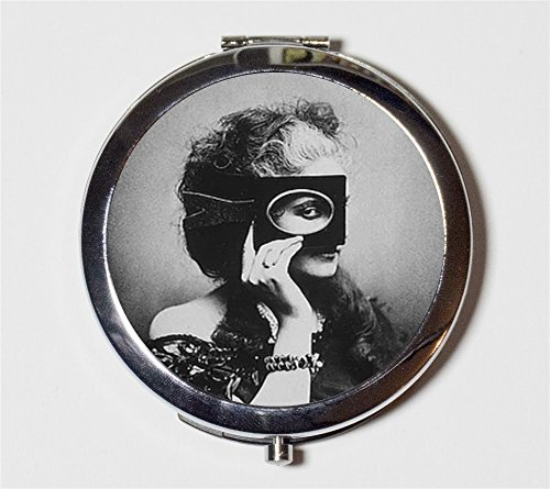 Masked Woman Compact Mirror Mysterious Countess Di Castiglione Italian Aristocrat Make Up Pocket Mirror for Cosmetics - Countess Mirror